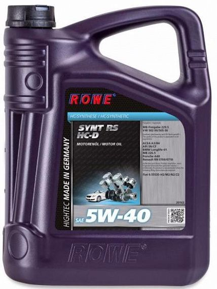 ROWE Моторное масло Hightec Synt RS HC-D SAE 5w40 5л Full-synthetic