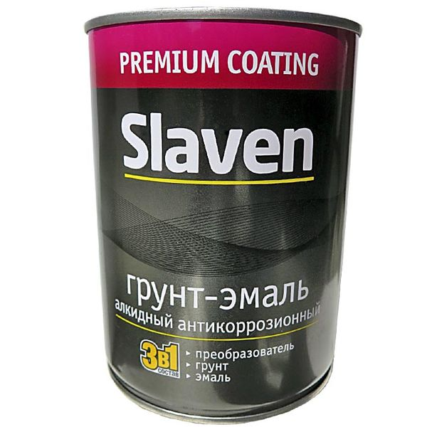 SLAVEN Грунт-эмаль 3 в 1 желтый быстросохнущий 1,1л