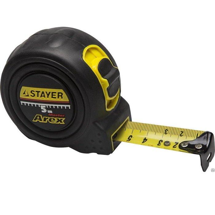 STAYER Рулетка измерительная Arex с автостопом, 19 мм, 5 м