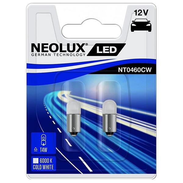 NEOLUX Лампа автомобильная T4W 12V LED 0.5W 6000K в блистере, 2 шт.