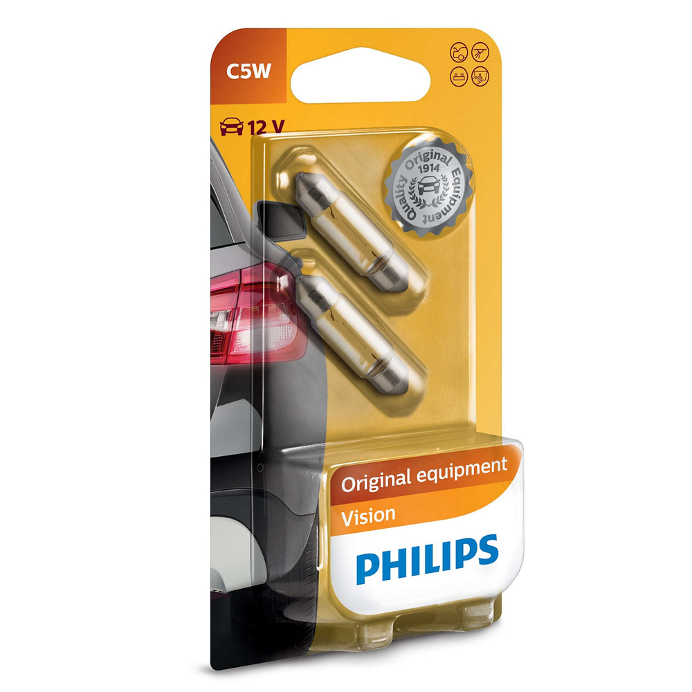 PHILIPS Лампа автомобильная галогенная C5W T10,5X36 12V 5W Standard в блистере, 2 шт.