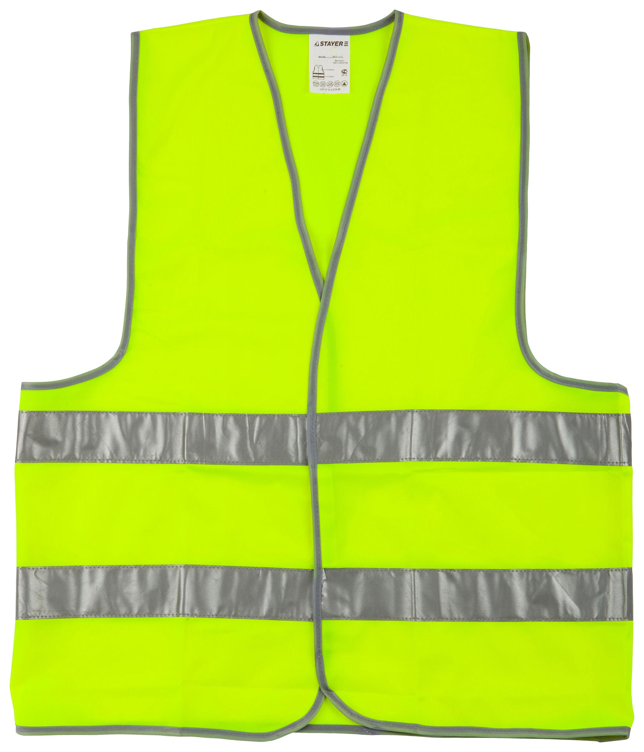 STAYER Жилет сигнальный со светоотражающими полосками, желтый XL