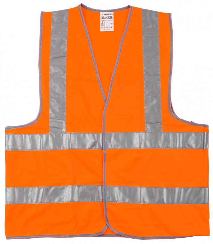 STAYER Жилет сигнальный со светоотражающими полосками, оранжевый XL