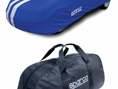 SPARCO Чехол-тент на автомобиль, полиэстер, напыление ПВХ, морозоустойчивый, синий, размер M