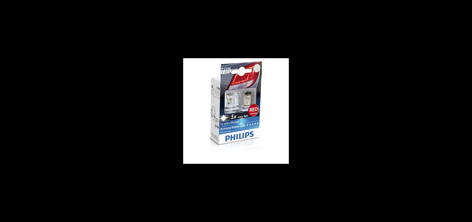PHILIPS Лампа автомобильная галогенная P21W 12V 21 W X-Treme Vision LED Red, 2 шт.