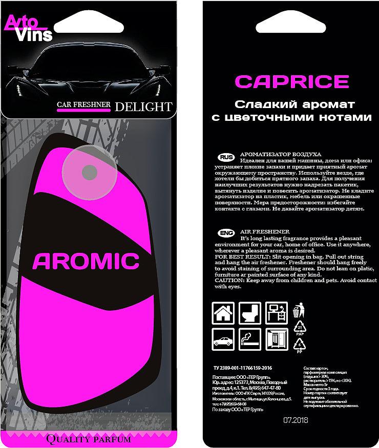 A2DM Ароматизатор картонный НА ПРИСОСКЕ флуоресцентный CAPRISE «КАПРИЗ» (розовый)