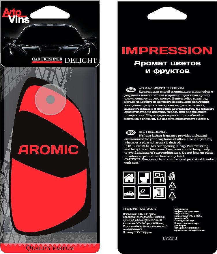 A2DM Ароматизатор картонный НА ПРИСОСКЕ флуоресцентный ECLIPSE «ЭКЛИПС» (красный)