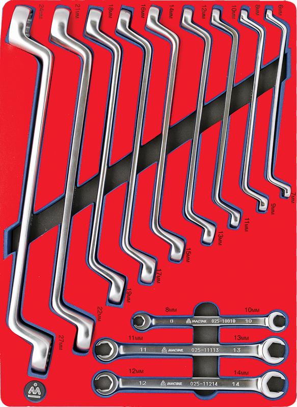 МАСТАК Набор накидных и разрезных ключей, зеркальная полировка, ложемент, 12 предметов