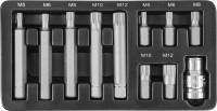JONNESWAY Набор вставок-бит 10 мм DR SPLINE с переходником, 11 предметов