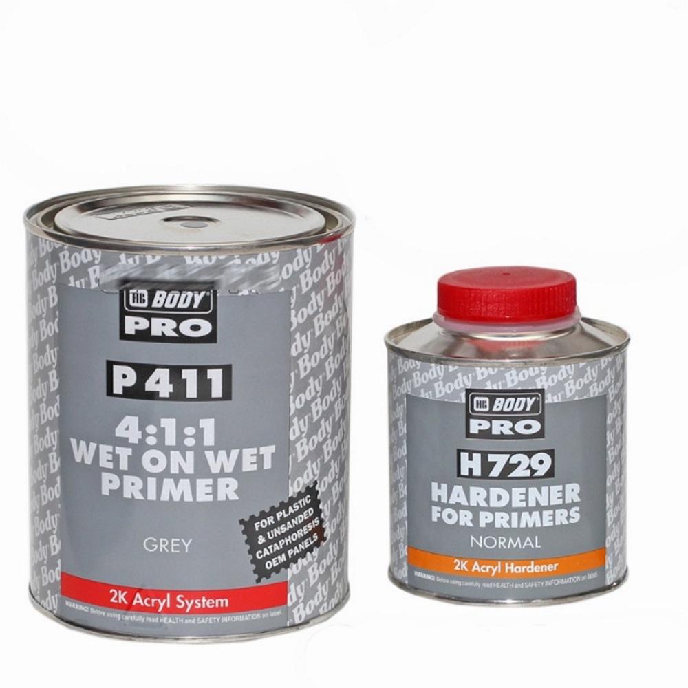 HB BODY PRO Грунт Р411 4:1 Wet on Wet 1л + отвердитель H729 0,25л