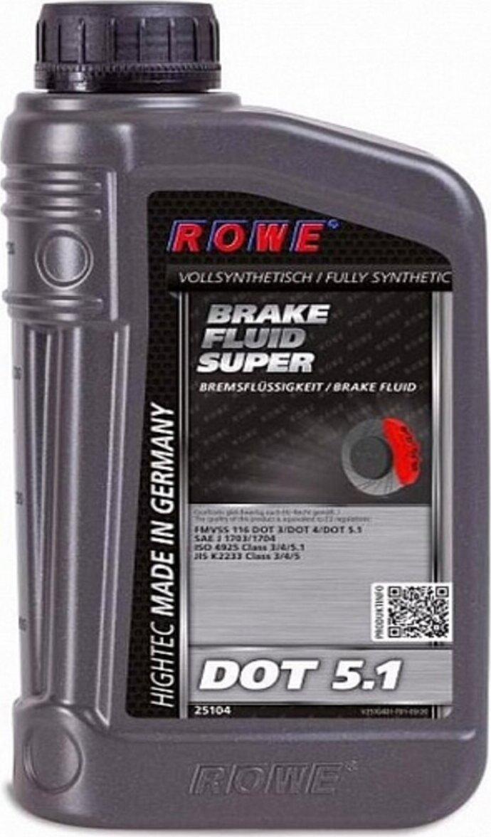 ROWE Тормозная жидкость Hightec Brake FLuid Super DOT-5,1 синтетическая 1л