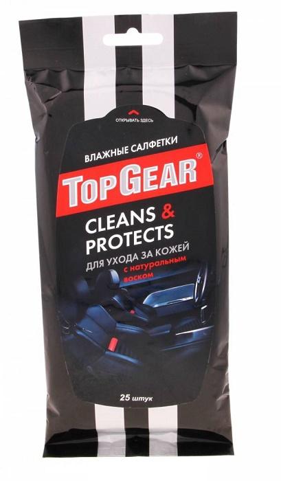 TOP GEAR Влажные салфетки для ухода за кожаными поверхностями с воском «карнауба»