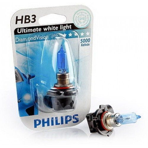 PHILIPS Лампа автомобильная галогенная HB3 12V 65W P20d Diamond Vision, в блистере, 1 шт.