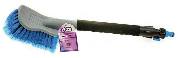 AUTOVIRAZH Щетка для мытья с мягкой ручкой под шланг, с краном 45 см
