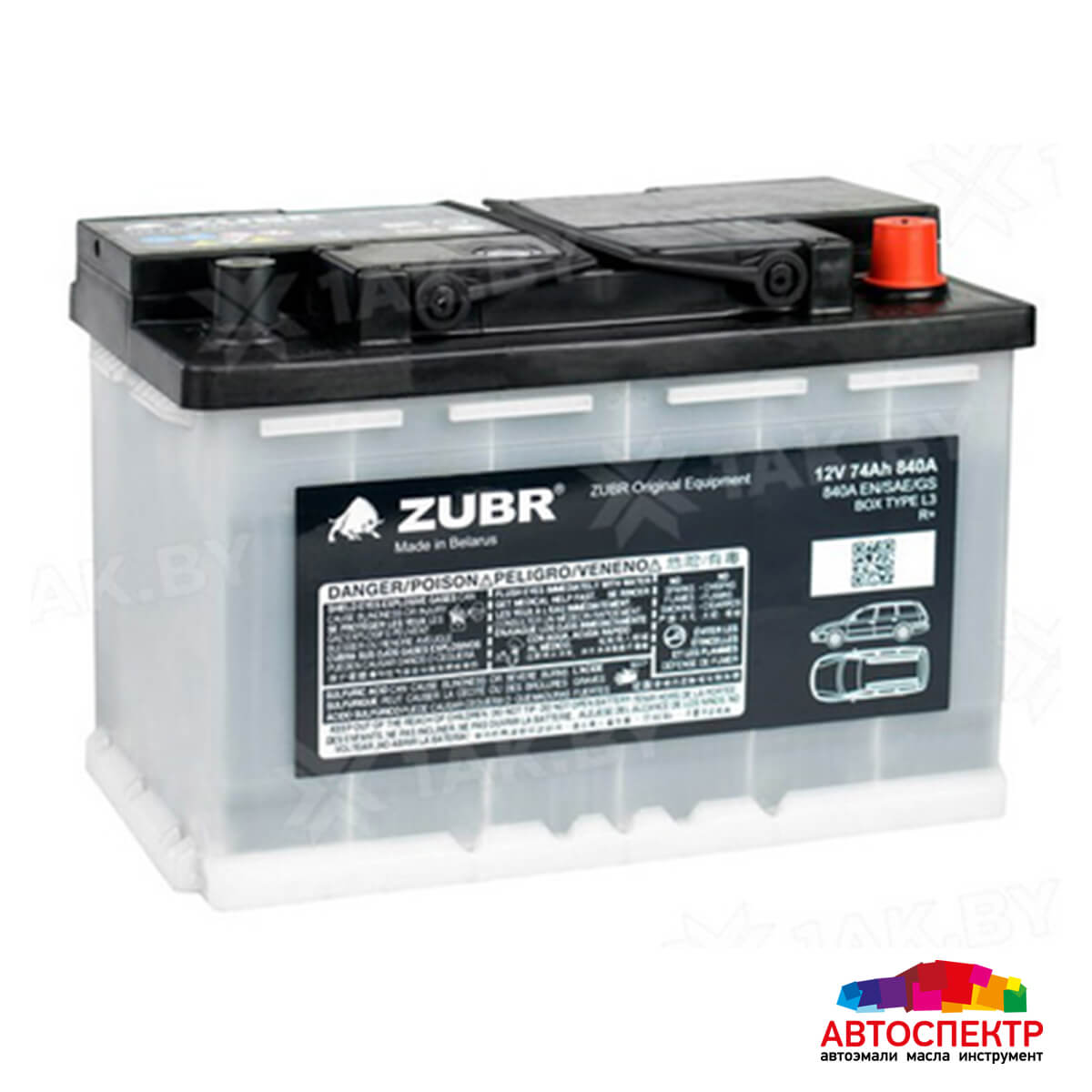 ZUBR Аккумуляторная батарея автомобильная Original  74 A/h обратная полярность