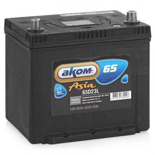 АКОМ Аккумуляторная батарея автомобильная 65 A/h обратная полярность Asia