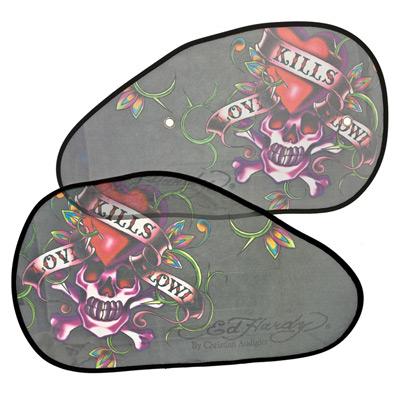 ED HARDY Шторка солнцезащитная LOVE KILLS SLOWLY на боковые стекла, полиэстер 66х37см