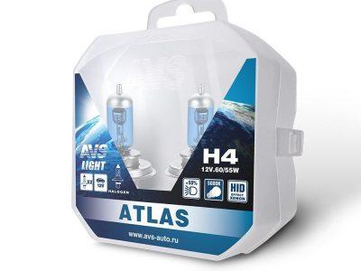 AVS Лампа автомобильная галогенная H4 12V.60/55W ATLAS PB 5000К, Plastic box ATLAS PB H4