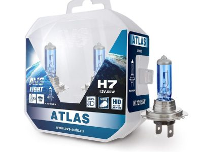 AVS Лампа автомобильная галогенная H7 12V.55W  ATLAS PB 5000К, Plastic box ATLAS PB H7