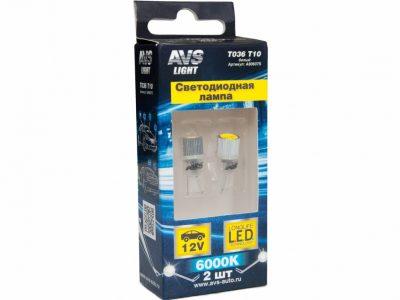 AVS Лампа автомобильная светодиодная, белый W2,1×9,5d 1W W5W, в блистере 2шт T036 T10