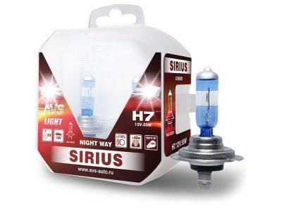 AVS Лампа автомобильная галогенная H7 SIRIUS NIGHT WAY 12V.55W Plastic box, 2шт