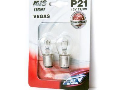 AVS Лампа автомобильная светодиодная Vegas 12V. P21/5W (BAY15D), в блистере 2шт