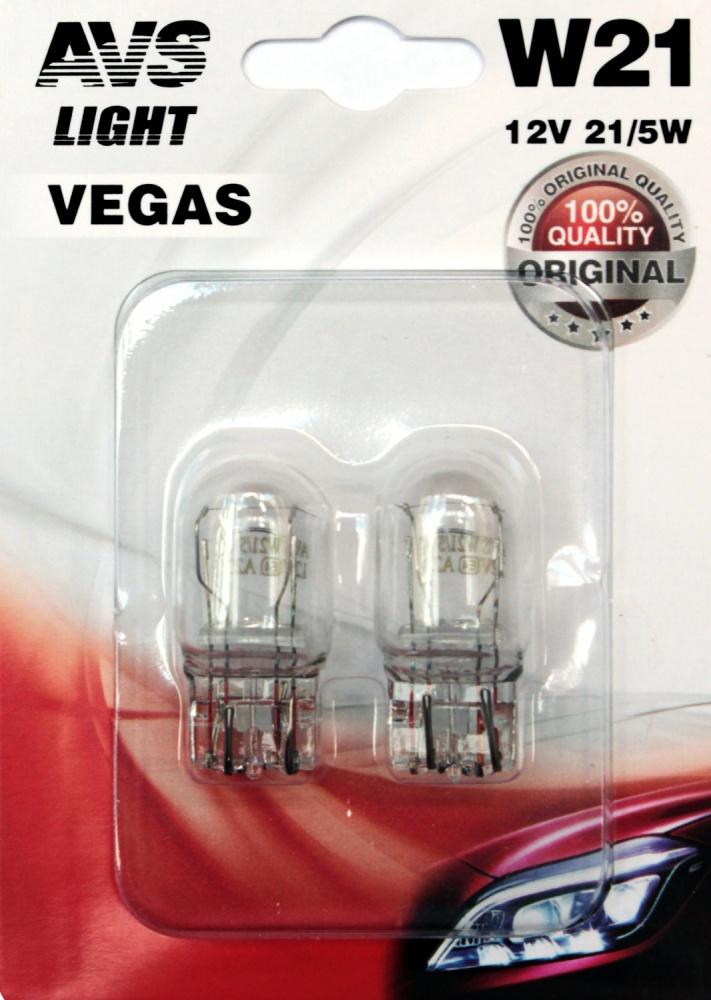 AVS Лампа автомобильная светодиодная Vegas 12V. W21/5W (W3x16q), в блистере 2шт