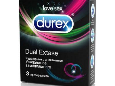 DUREX Презервативы Dual Extase рельефные с анастетиком, 3шт