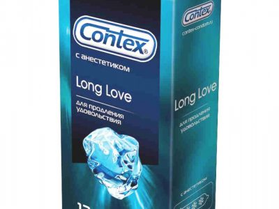 CONTEX Презервативы Long Love с анестетиком для продления удовольствия с гелем-смазкой, 12 шт
