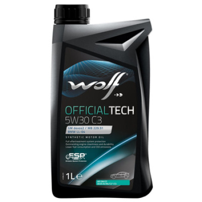 WOLF Моторное масло Official Tech C3 SAE 5w30 1л Full-synthetic
