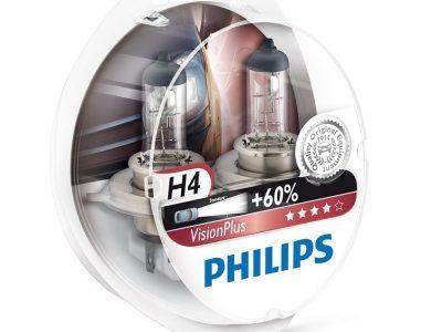 PHILIPS Лампа автомобильная галогенная H4 12V 60/55W Vision Plus +60% света бокс, 2 шт.