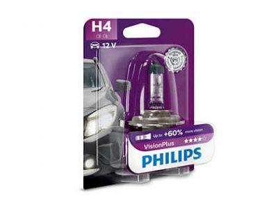 PHILIPS Лампа автомобильная галогенная H4 12V 60/55W Vision Plus +60% света в блистере