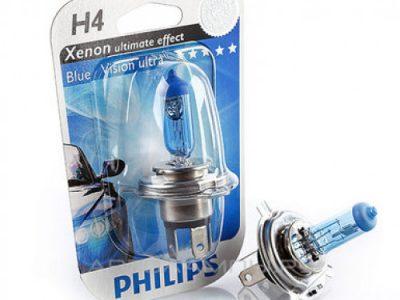 PHILIPS Лампа автомобильная галогенная  H4 12V 60/55W Blue Vision Ultra, в блистере, 1 шт.