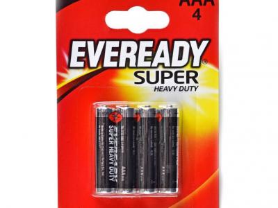 ENERGIZER Батарейка солевая EVEREADY SUPER HEAVY DUTY AAА/R03 FSB4 блистер 4шт
