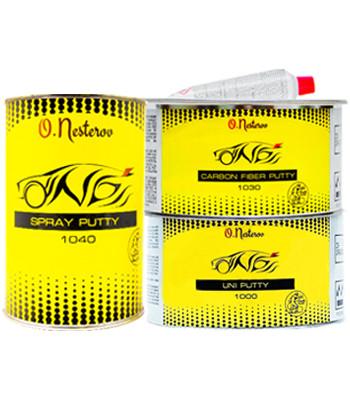 ОНБ НАБОР «TOP ШПАТЛЕВКА» Carbon Fiber Putty 1,8 кг + Universal Putty 2кг + Spray Putty серый, 1,2л