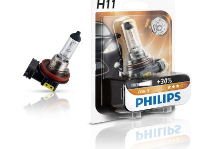 PHILIPS Лампа автомобильная галогенная H11 12V 55W Vision +30% света в блистере, 1 шт.