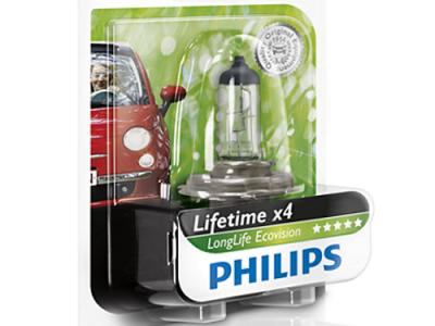PHILIPS Лампа автомобильная галогенная H4 12V 60/55W LongLife EcoVision в блистере, 1 шт.