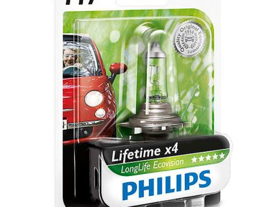 PHILIPS Лампа автомобильная галогенная H7 12V 55W LongLife EcoVision в блистере, 1 шт.