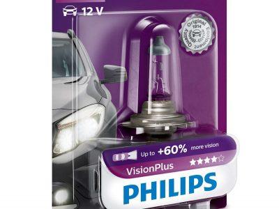 PHILIPS Лампа автомобильная галогенная H7 12V 55W Vision Plus +60% света в блистере, 1 шт.