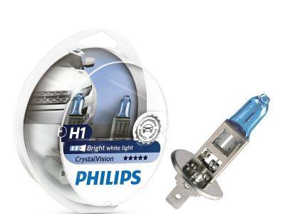 PHILIPS Лампа автомобильная галогенная H7 12V- 55W(белый яркий свет) Crystal Vision + W5W 12V-5W
