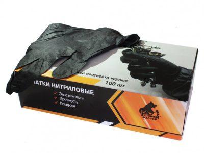 РУССКИЙ МАСТЕР Перчатки нитриловые повышеной плотности без пудры черные, размер L (пара)