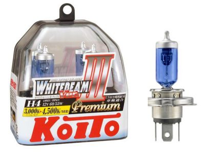 KOITO Лампа высокотемпературная H4.12V.60/55W (135/125W) 4500К Whitebeam Premium бокс, 2 шт.