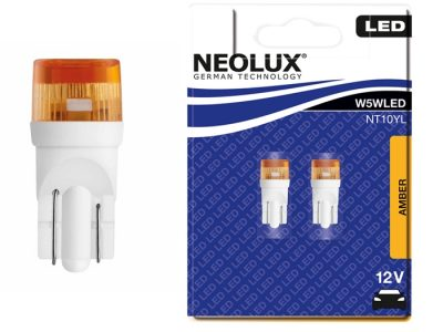 NEOLUX Лампа автомобильная W5W 12V LED 0.5W Yello в блистере, 2 шт.