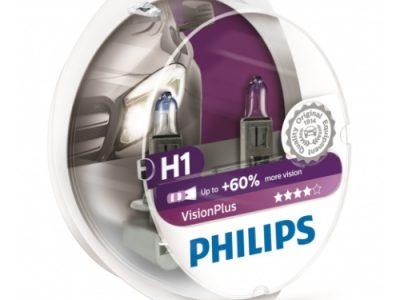 PHILIPS Лампа автомобильная галогенная H1 12V 55W Vision Plus+60% белые с голубым оттенком, 2 шт.