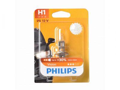 PHILIPS Лампа автомобильная галогенная H1 12V 55W Vision Premium+30% света в блистере, 1 шт.
