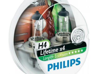PHILIPS Лампа автомобильная галогенная H4 12V 60/55W S2 LongLife EcoVision бокс, 2 шт.