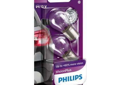 PHILIPS Лампа автомобильная галогенная P21W 12V 21W Vision Plus +60% света в блистере, 2 шт.