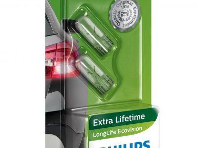 PHILIPS Лампа автомобильная галогенная W5W 12V 5W LongLife EcoVision в блистере, 2 шт.