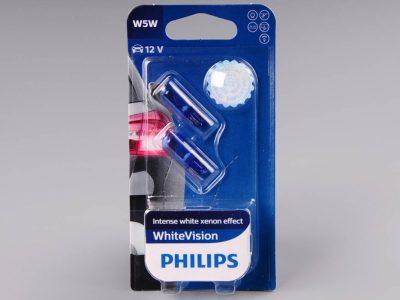 PHILIPS Лампа автомобильная галогенная W5W 12V 5W White Vision 4500K в блистере, 2 шт.