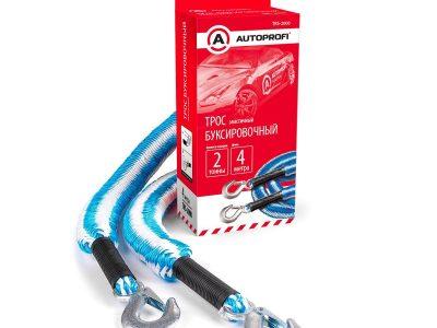 AUTOPROFI Трос буксировочный, строп-лента, эластичный, 2 крюка, 2т., 1,5-4м